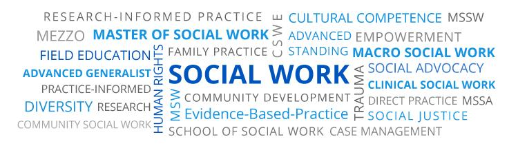 Word cloud for social work with important terms